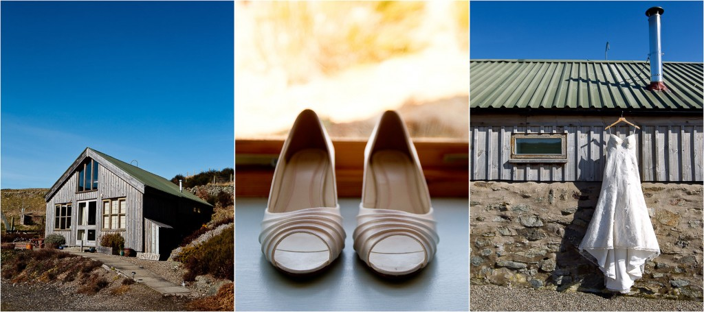 wedding dress and shoes outdoors
