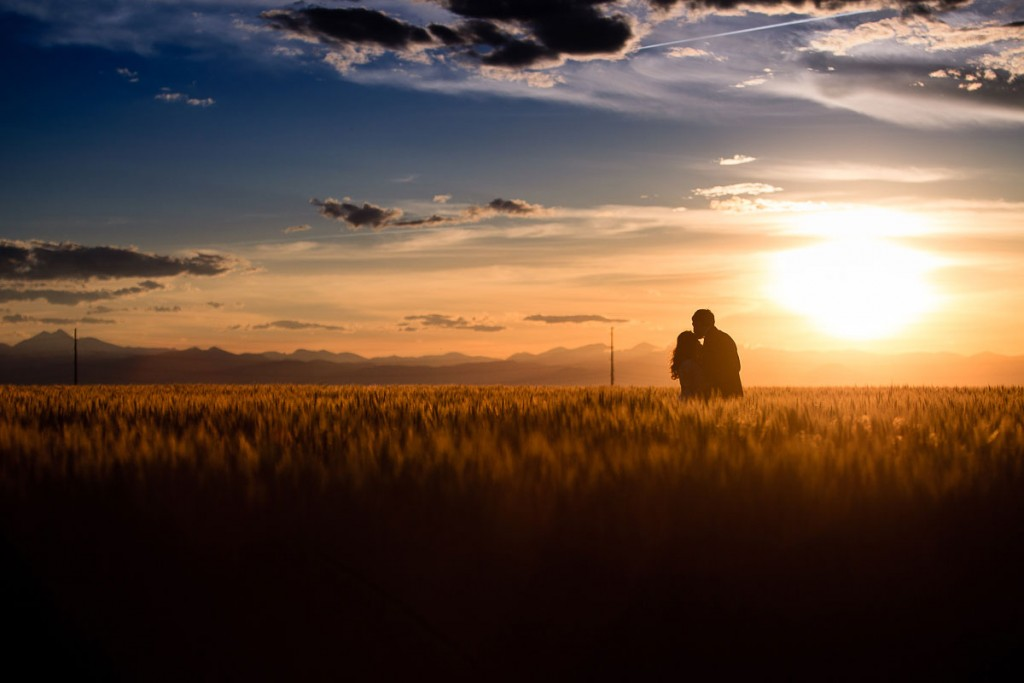 sunset field wedding